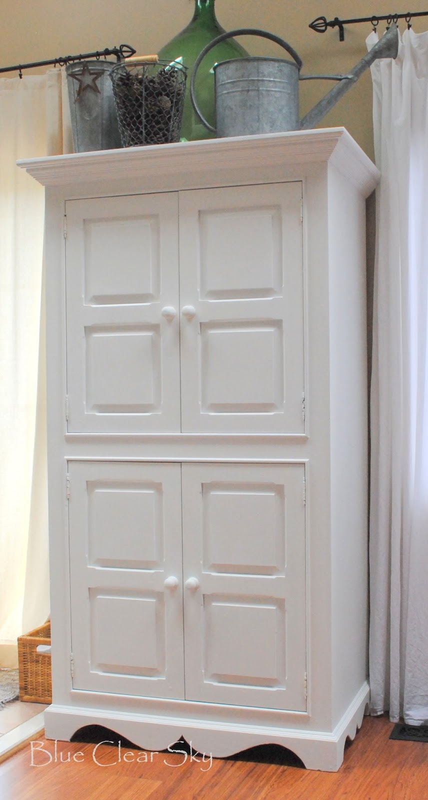 Rustic Maple: Painted Armoire in Mercury Glass White