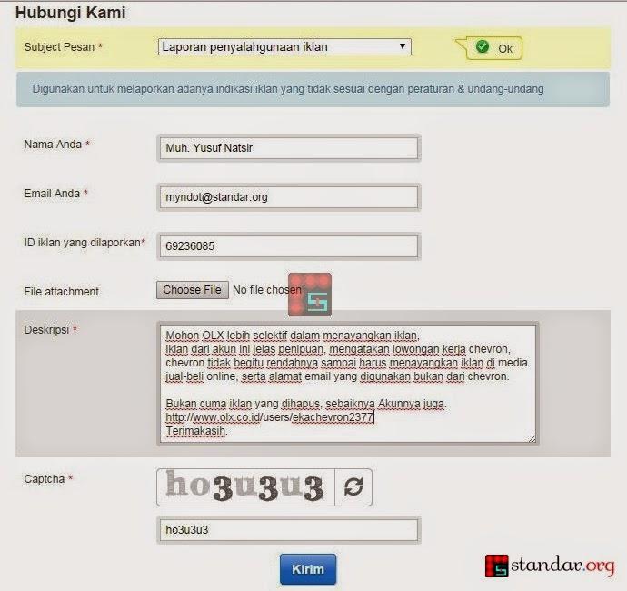 Laporkan Indikasi Penipuan Jual-Beli Online (OLX.co.id sebelumnya Tokobagus.com)