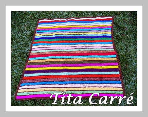 Colcha Marrom com Colorido em crochet