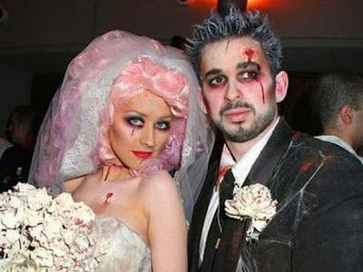 diablo cara matrimonio de disfraces de Halloween