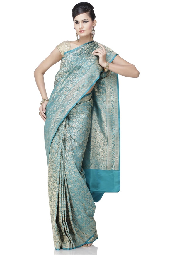 Sea Green Art Kattan Silk Banarasi Saree