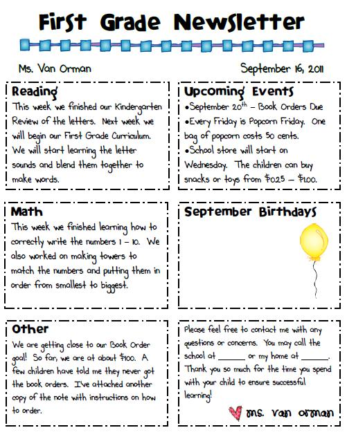 parent newsletter examples