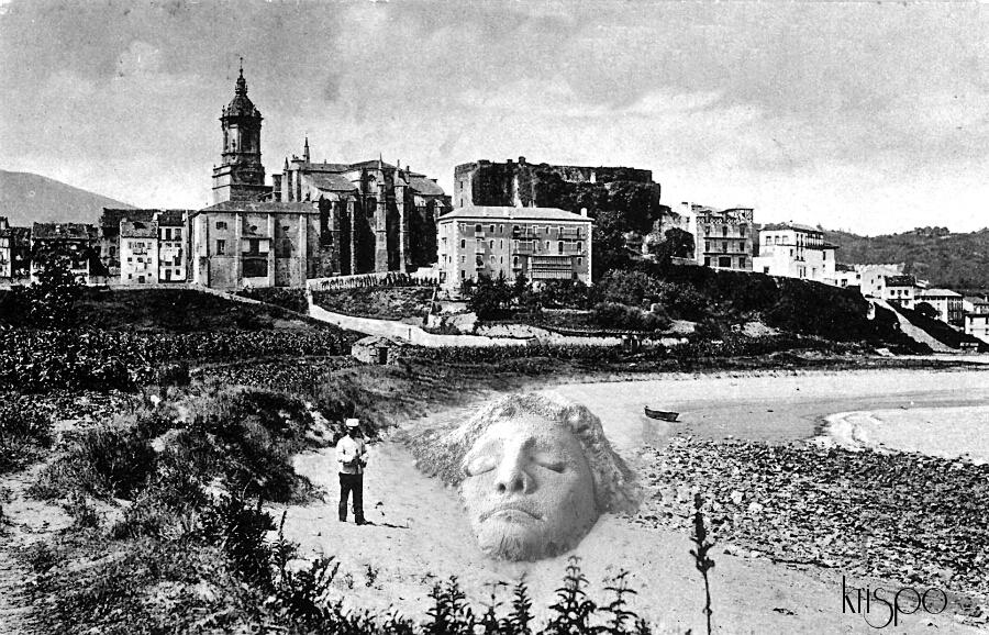 fotografía antigua de una de las playas de hondarribia
