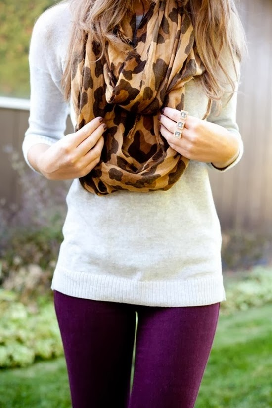 Cheetah design shawl, white sweater and purple pants for fall