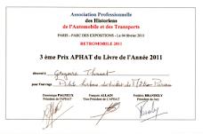 Prix du livre de l'année 2011 (APHAT)