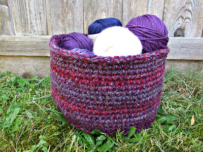 DIY a Crocheted basket from a free tutorial. Link in post.