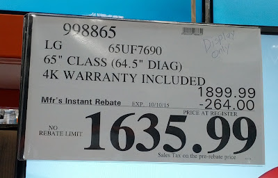 Deal for the LG 65UF7690 65 inch TV at Costco