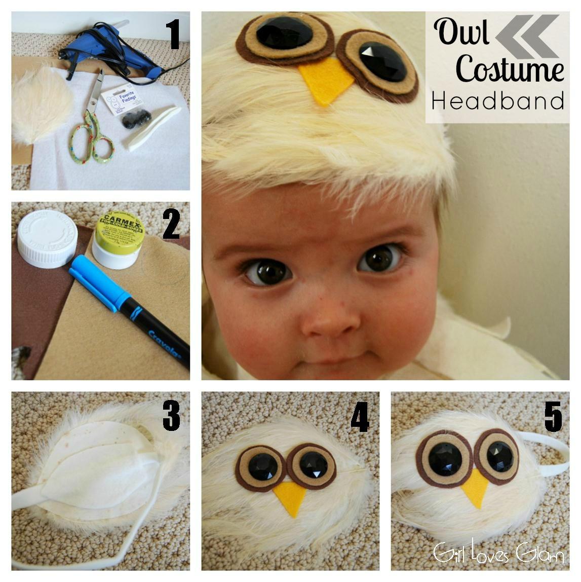 No sew baby owl costume girl loves glam elastic baby headband scissors solutioingenieria Choice Image