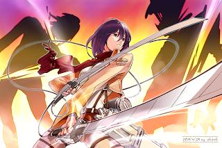 Attack on Titan Shingeki no Kyojina Mikasa Ackerman Anime Girl Sword Blade HD Wallpaper Desktop Background