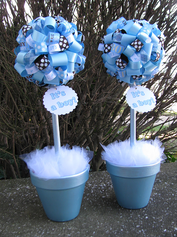 Banana lala it s a boy baby shower topiaries in light
