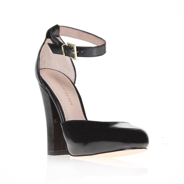 Kurt Geiger glossy black ankle strap platforms