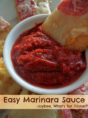 Easy Marinara Sauce:  A quick and simple marinara sauce made with tomato paste and spices.  Great for pizzas and dipping.