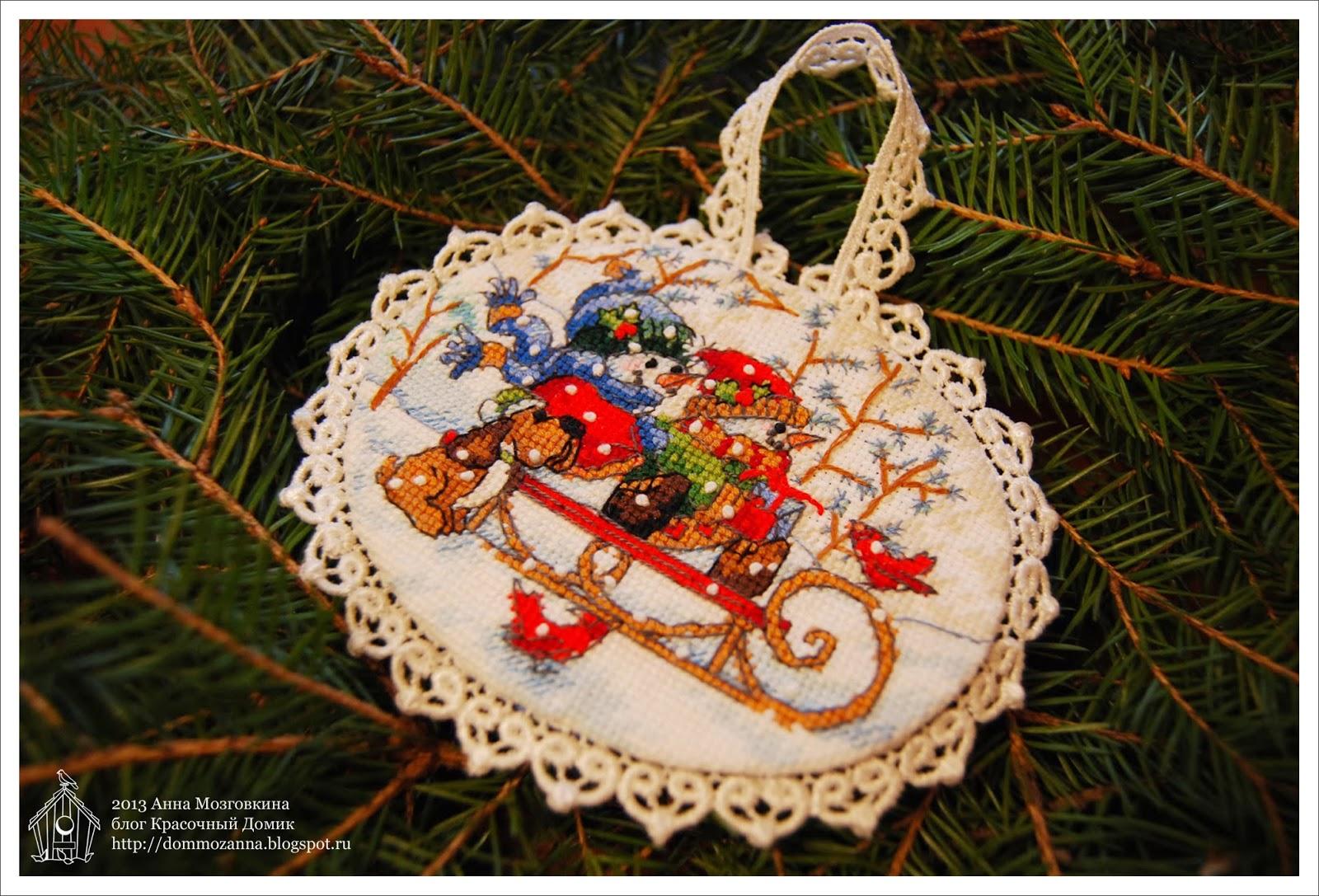 Playful Snowmen Ornaments вышивка крестом