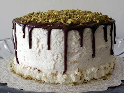 white chocolate, pudding and pistachio cake