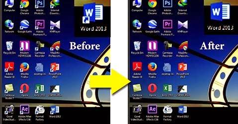 حذف السهم من أيقونات سطح المكتب على ويندوز 7 Remove arrow from shortcut icon windows