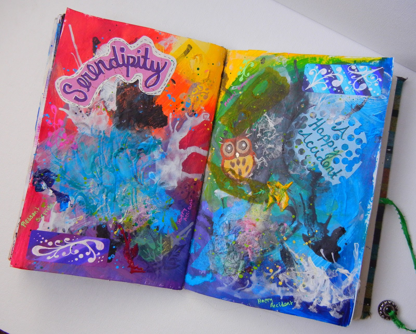 Nykkeyb serendipity pages fall art journal for Journal painting ideas