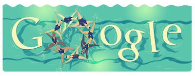 londra 2012 senkronize yuzme google logosu