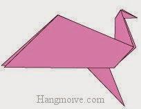 Bước 13: Hoàn thành cách xếp con chim biết vỗ cánh bay bằng giấy origami.