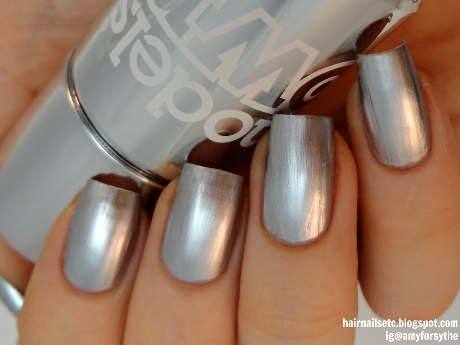 Models Own Chrome Silver Nail Polish swatch and review