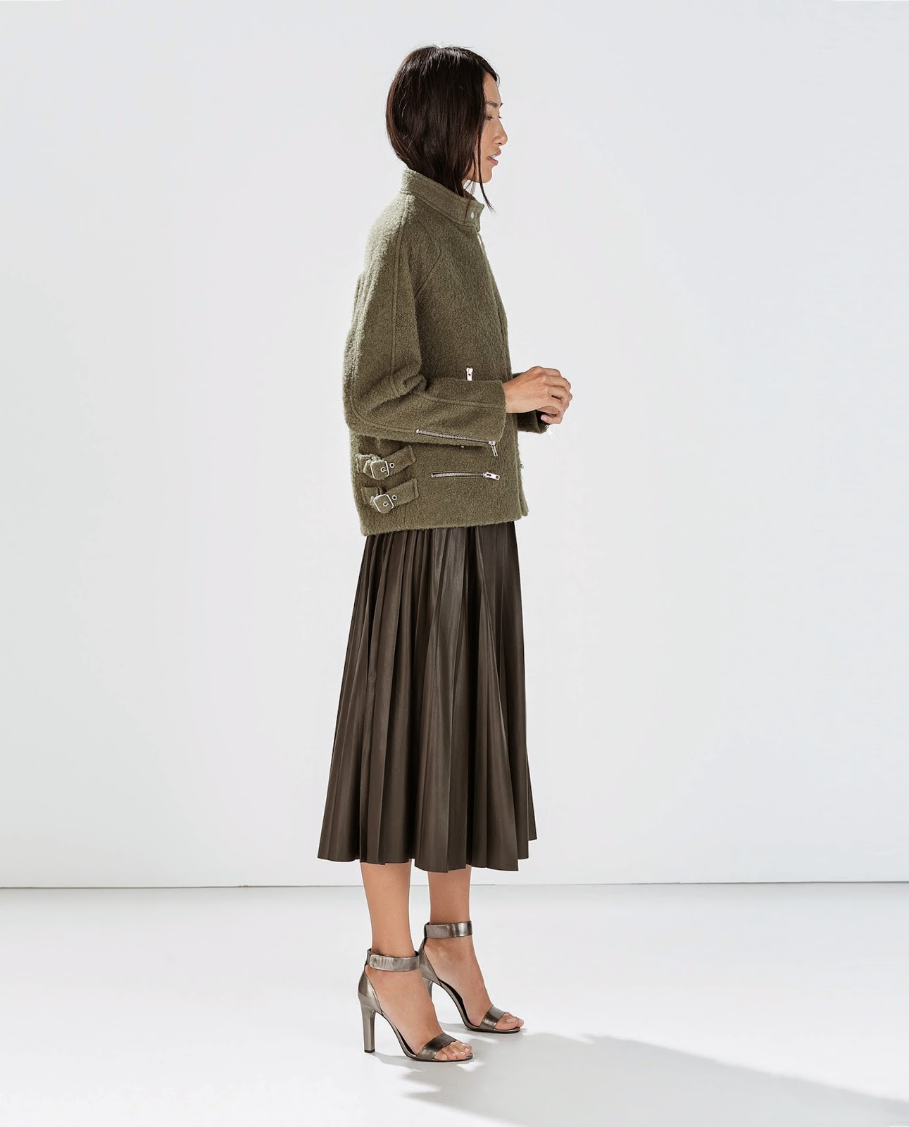 zara khaki skirt