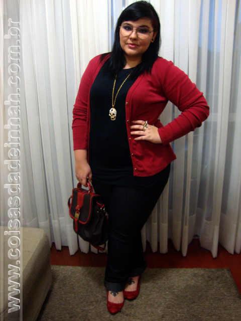 look cardig vermelho moda outono inverno 2012 bolsa sapato acessrios