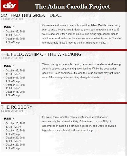 Adam Carolla Project, Episode Schedule, DIY Network