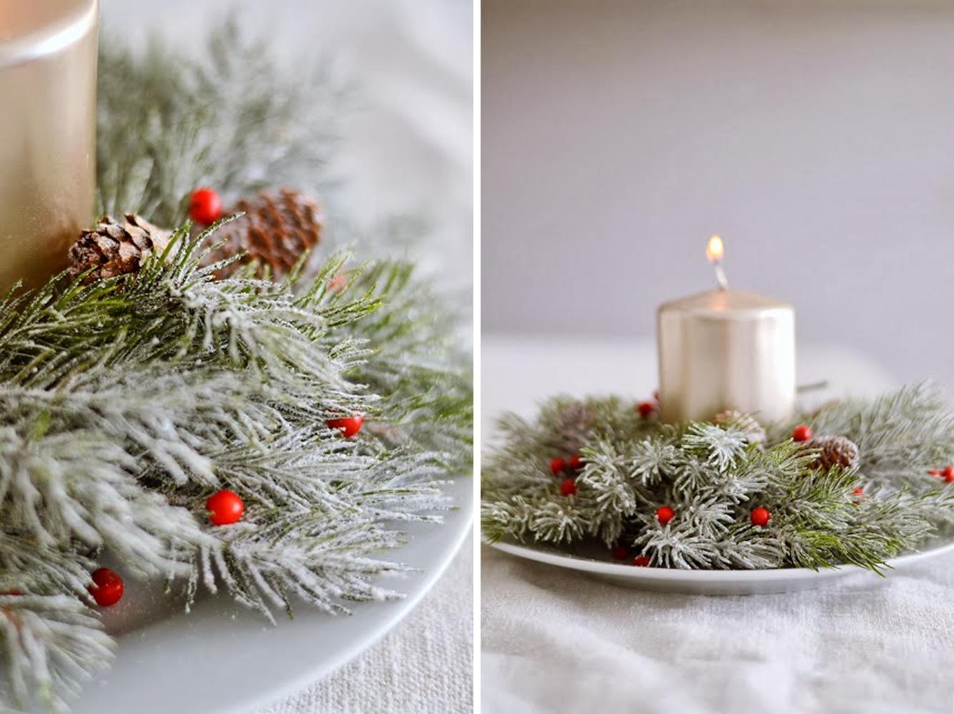 Decoraci n f cil un sencillo centro para navidad en dos for Centro mesa navidad