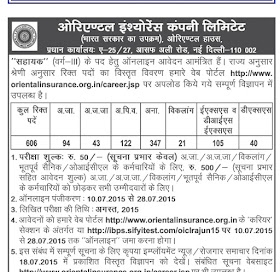 RECRUITMENT OICL ASSISTANT (CLASS - III) 2015-16 Out|Last Date-28 July 2015