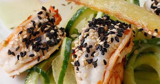 Almond Corner: Prawn with melon-cucumber salad and sesame tuiles