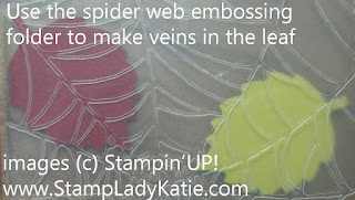 Spider Web embossing folder makes veins in a leaf.