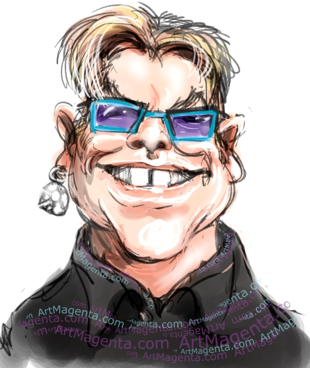 Elton John caricature cartoon. Portrait drawing by caricaturist Artmagenta