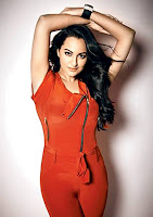 Sonakshi Sinha in red western dress