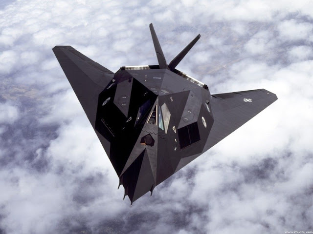 F-117 Nighthawk above clouds