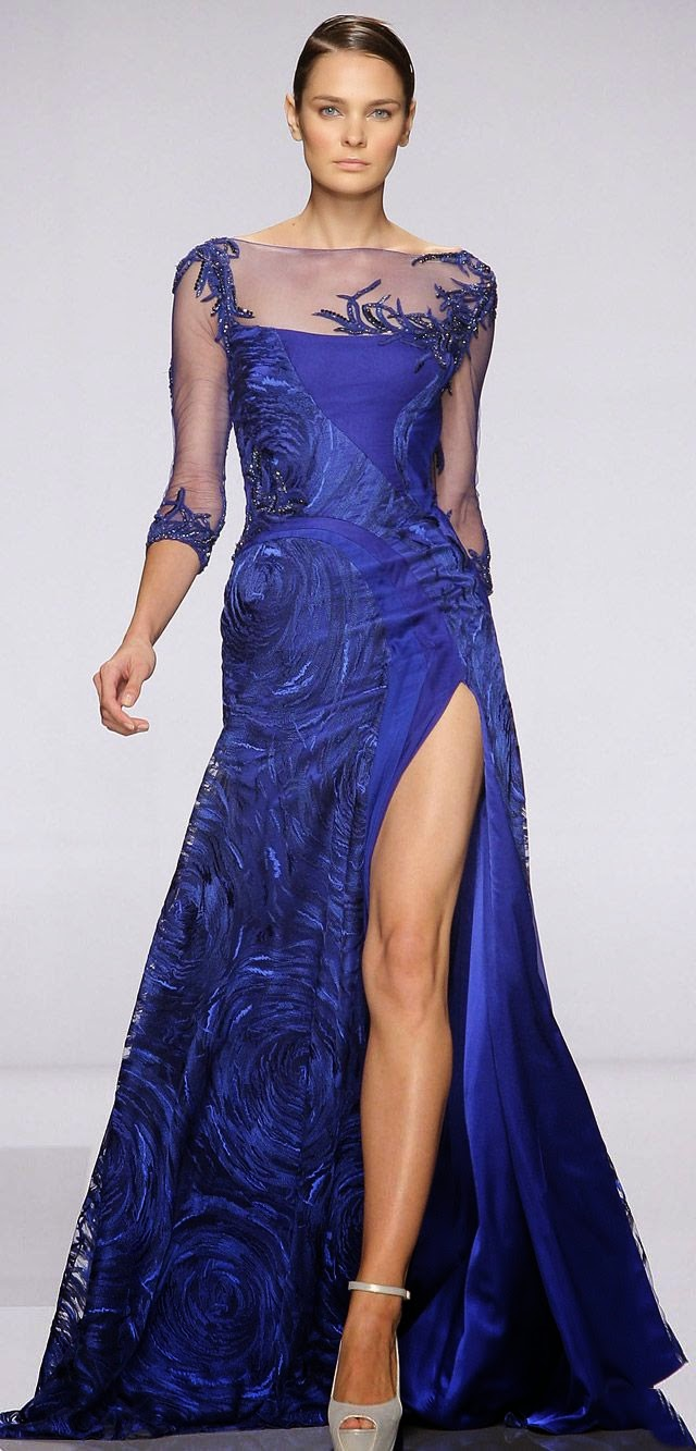 TONY WARD COUTURE FALL WINTER 2013 2014  on blue dress for cute woman