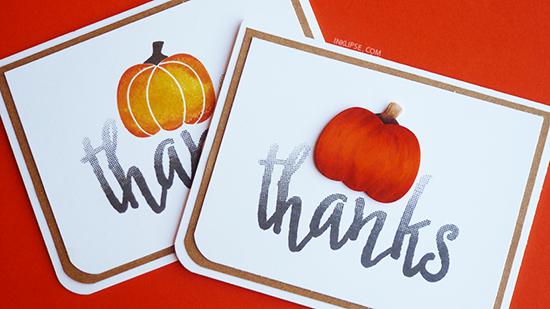 Fall Thanks pumpkin cards by Simon Hurley | Pick-a-Pumpkin stamp set by Newton's Nook Designs #newtonsnook #pumpkin