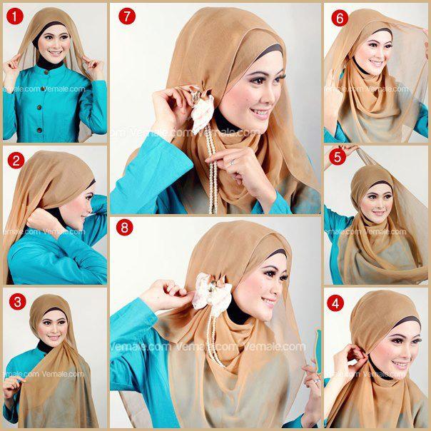 Gunakan inner jilbab ninja. Kemudian gunakan jilbab segi empat ...