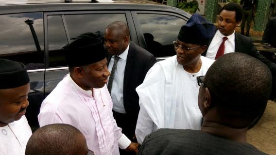 Goodluck Jonathan and Gbenga Daniel at Awolowo residence in Ikenne.