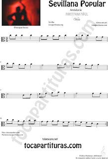 Sevillana Popular Partitura de Viola Sheet Music for Viola Music Score