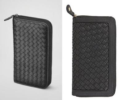 A Bottega Veneta 'Nero Intrecciato Nappa Zip Around Wallet' and a Steve Madden 'Bluelus' wallet
