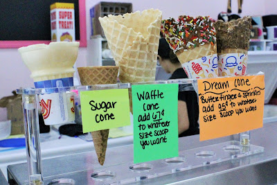 Ice Cream cone options at Heyn's Ice Cream in Iowa City - Iowa Ice Cream Road Trip