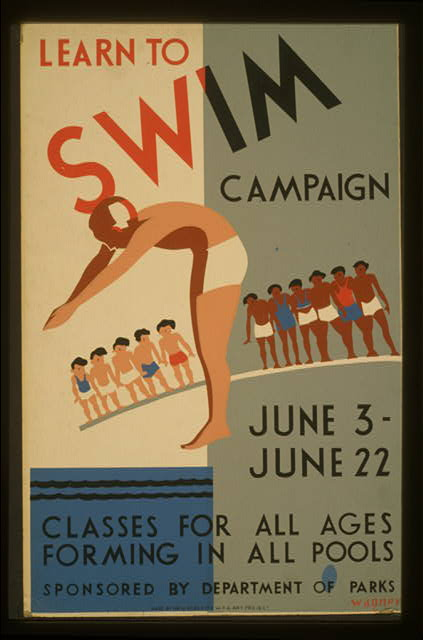 wpa, federal art project, sports, public service announcement, vintage, vintage posters, retro prints, classic posters, graphic design, free download, Learn to Swim Campaign, Classes for All Ages Forming in All Pools - Vintage Sports Poster