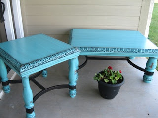 From Pens To Paint Turquoise Coffee Table And End Table
