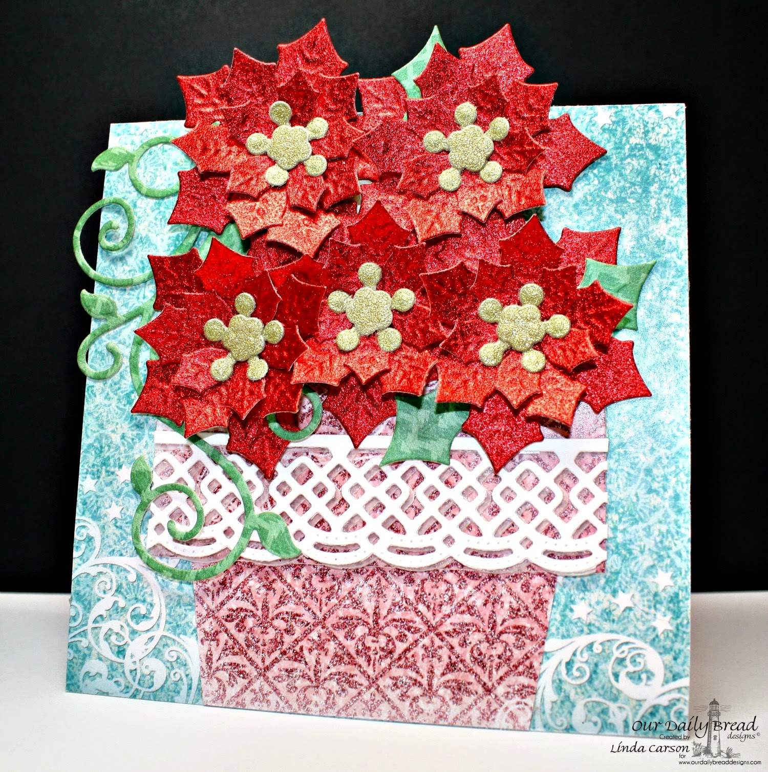 ODBD, Holly Wreath, Circle Ornaments die, Peaceful Poinsettia die, Beautiful Borders die, Fancy Foliage die, Christmas Collection 2015, Fancy Folds Flower Pot, designer Linda Carson