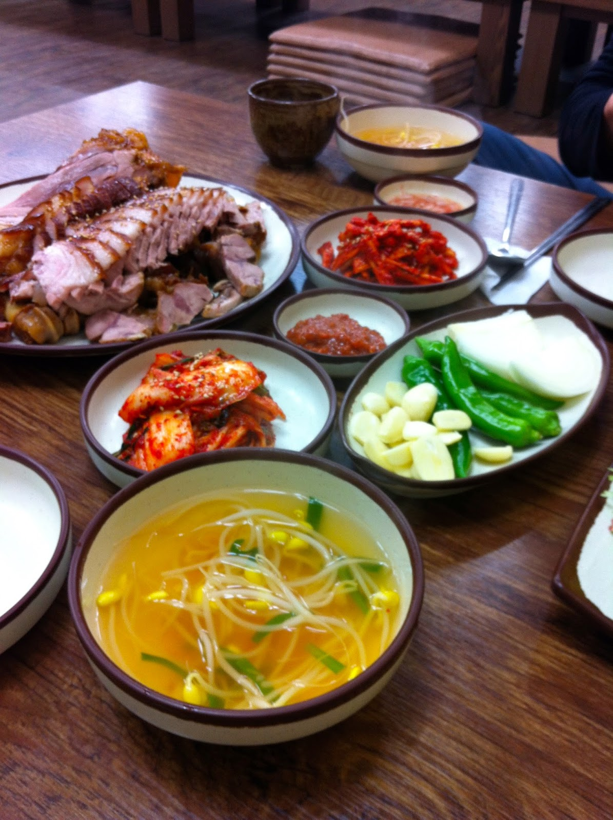 Korean food at restaurant