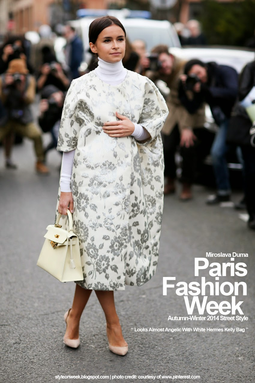 Paris Fashion Week Autumn-Winter 2014 Street Style - Looks Almost Angelic With White Hermes Kelly Bag