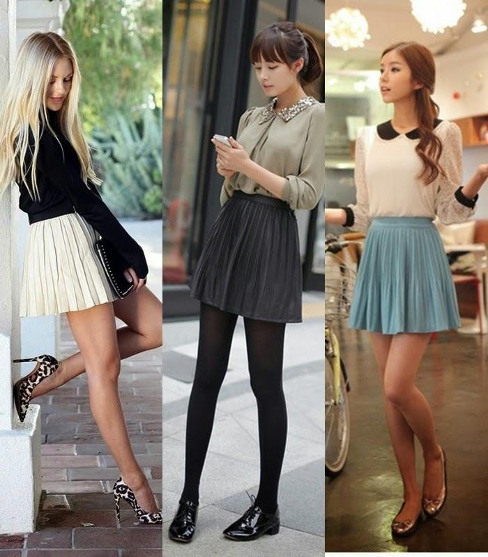Moda - mini-saia plissada tendência primavera-verão 2015