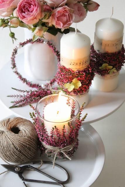 świeczniki z wrzosami inspiracja DIY