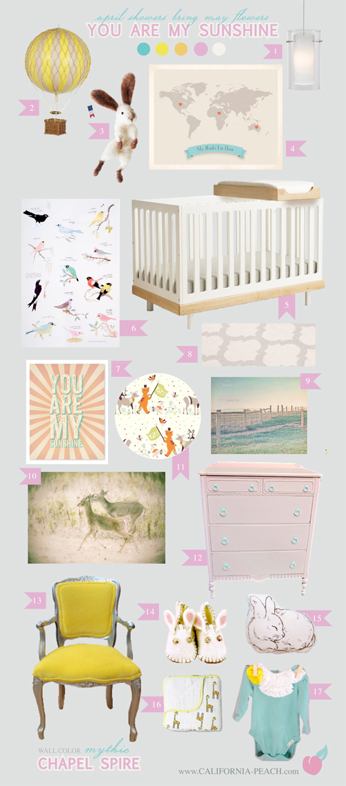 You Are My Sunshine || on California Peach || Nursery Baby Room Interior Design Style Board