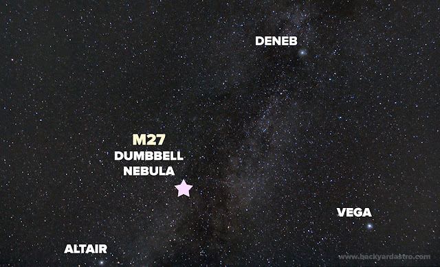 Star chart to find the Dumbbell Nebula