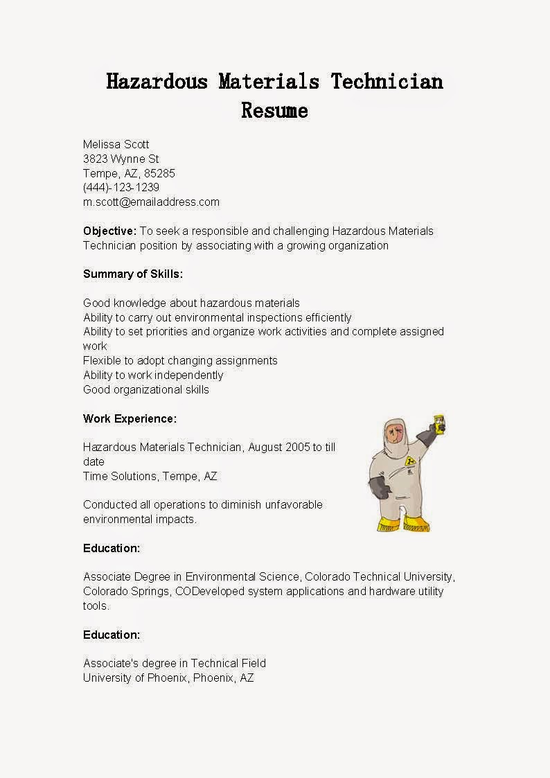 resume samples  hazardous materials technician resume sample